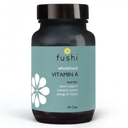 Whole Food Vitamin A Naturalna Witamina A Korzeń marchwi Liście jarmużu sproszkowane Beta karoten 1500 µg 60 kaps Fushi