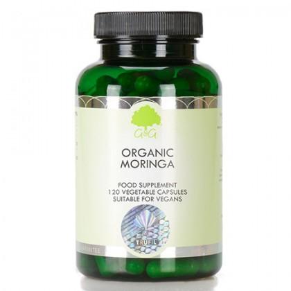 Organic Moringa Ekologiczne Liście Sproszkowane 120 kapsułek 500 mg G&G