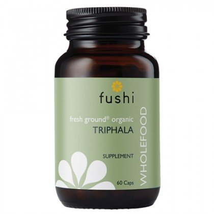 Triphala BIO Ekologiczne Owoce Amla Haritaki Bibhitaki Sproszkowane 520 mg 60 kapsułek Fushi