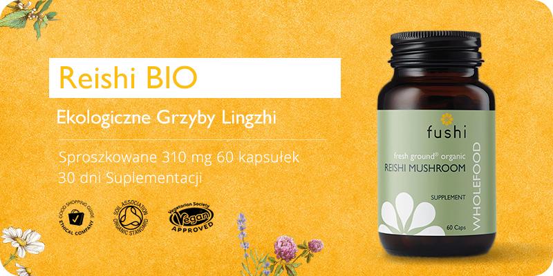 Reishi BIO Ekologiczne Grzyby Lingzhi Sproszkowane 310 mg 60 kapsułek Fushi