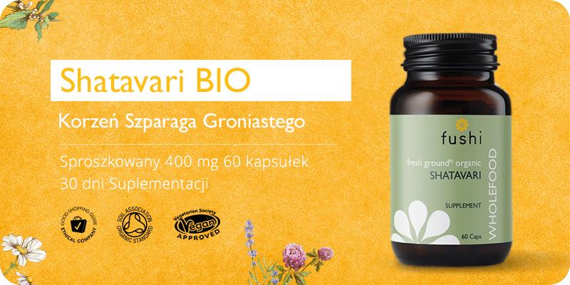 Ekologiczna Shatavari BIO Sproszkowany Korzeń Szparaga Groniastego 400 mg 60 kapsułek Fushi
