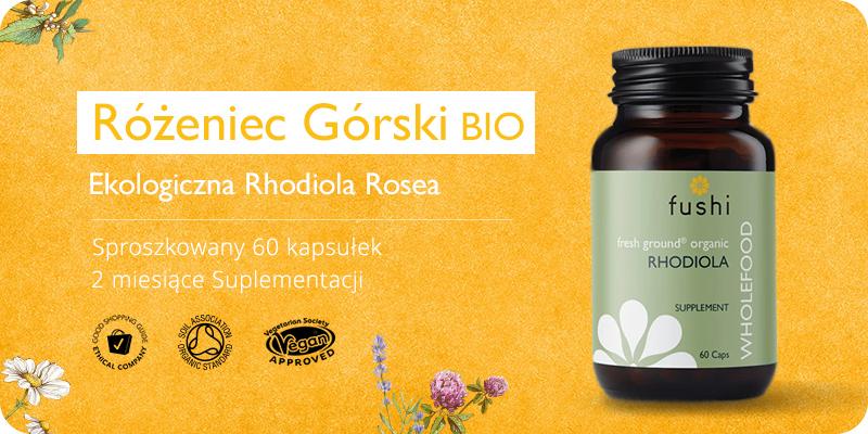 Rhodiola Rosea BIO Ekologoczny Różeniec Górski 60 kapsułek Fushi