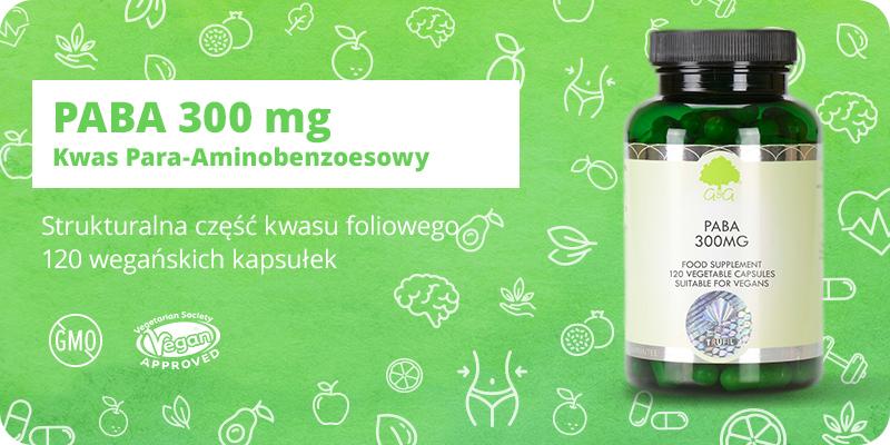 PABA 300 mg Kwas Para-Aminobenzoesowy 120 kapsułek G&G