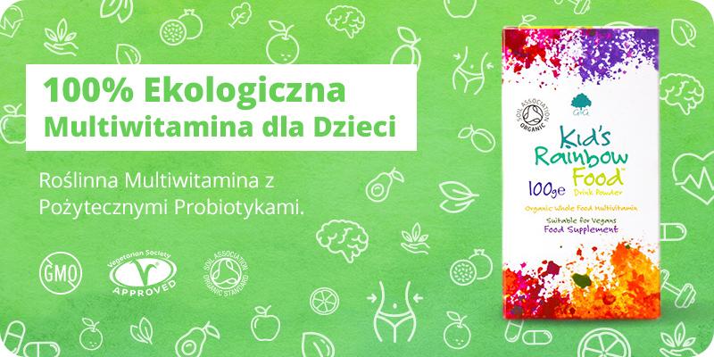 Kids Rainbow Food BIO Ekologiczne Witaminy i Probiotyki dla dzieci w proszku 100g G&G
