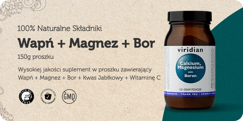 Wapń + Magnez + Bor + Kwas Jabłkowy + Witamina C 150g w proszku Viridian