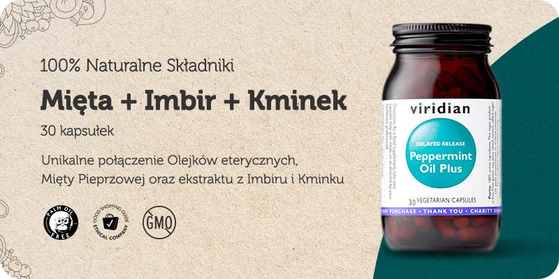 Peppermint Oil Plus Mięta Pieprzowa + Imbir + Nasiona Kminku 30 kapsułek Viridian