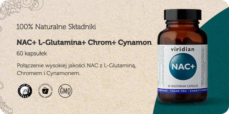 NAC+ z L-Glutaminą Chromem i Cynamonem 60 kapsułek Viridian