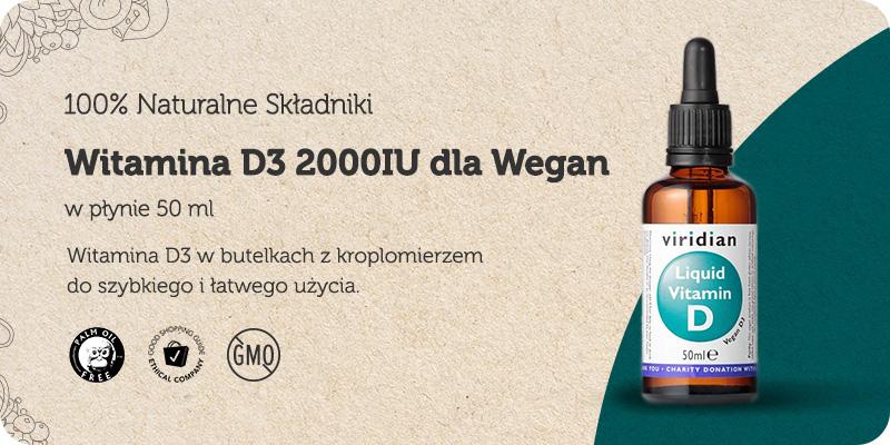 Witamina D3 2000IU dla Wegan w płynie 50 ml Viridian