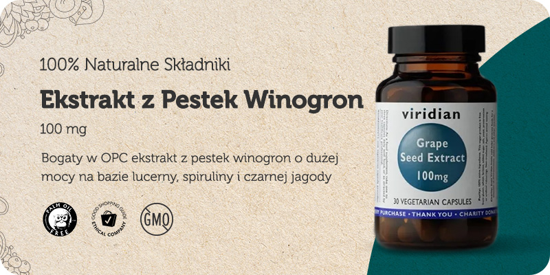 OPC Ekstrakt Wyciąg z Pestek Winogron 100mg 30 kapsułek Viridian