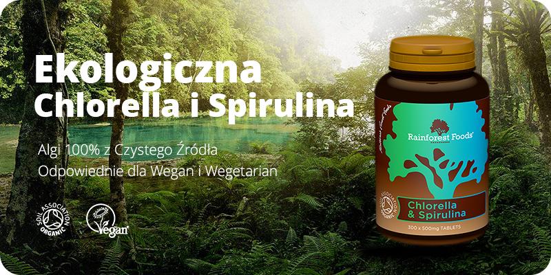 Chlorella i Spirulina BIO Ekologiczna 300 tabletek x 500 mg Rainforest Foods